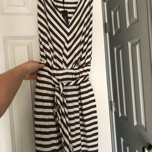 Talbots new NWT brown and white striped dress